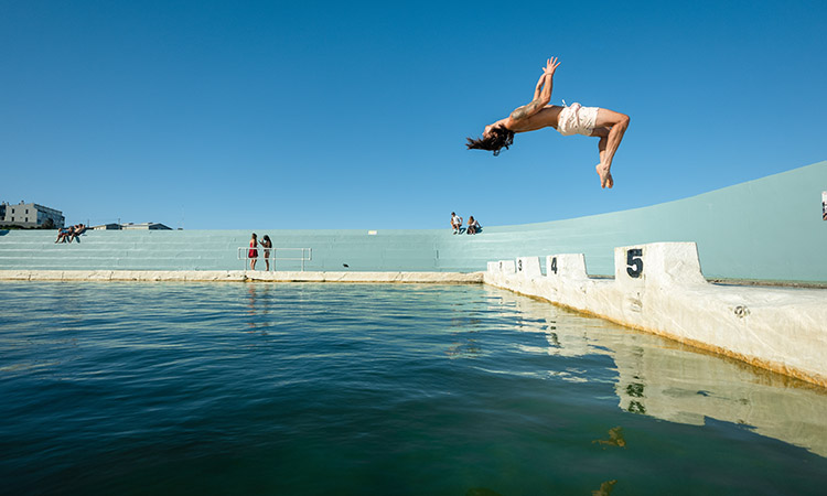 Jumping into the Newcastle Beach Pool - Sydney's Best Road Trips