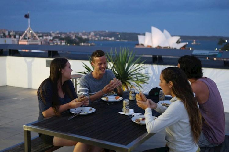 rooftop terrace Opera House full view - Sydney Harbour YHA